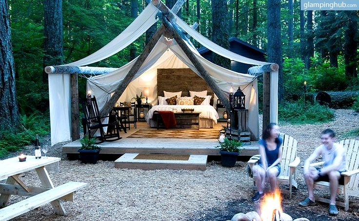 """Luxury Canvas Cabins Washington   Canvas Tent Rental Washington - Although I don't consider myself much of a """"glamper,"""" I would definitely think about checking this place out some time.  It's located between Centralia and Olympia, not too far away!"""