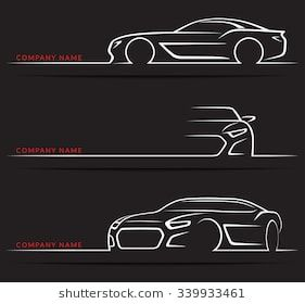 Set Of Sports Car Silhouettes Isolated On Black Background Front 3