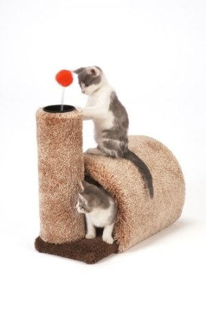 Amazon.com: Cat Craft, # 124261, Kitty Barn (colors may vary)#$25.95...good reviews but is small size. I do like how the tunnel feeds into the scratch post design.
