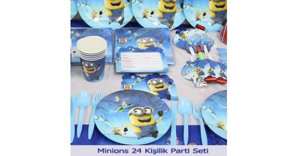 Minions Parti Seti (24 Kişilik)Minions Doğum Günü Parti Seti ürününün içinde bulunan minyonlar parti malzemeleri aşağıdaki gibidir.Minions Karton Tabak : 24 Ad. MinionsKartonBardak : 24 Ad. Minions Kağıt Peçete : 40 Ad.Mavi Balon : 10 Ad.Sarı Balon :10 Ad.Minions Plastik Masa Ört