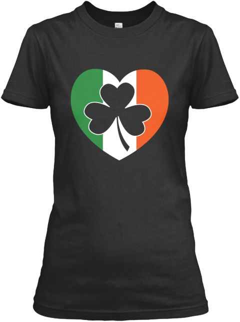 I Love Irish Flag Black Women's T-Shirt Front