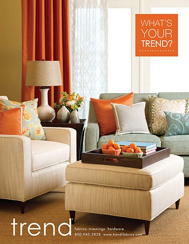 Trend ad from vision magazine...what a great  group of colors of the draperies and pillows and furniture! Tangerine, cream and Aqua!