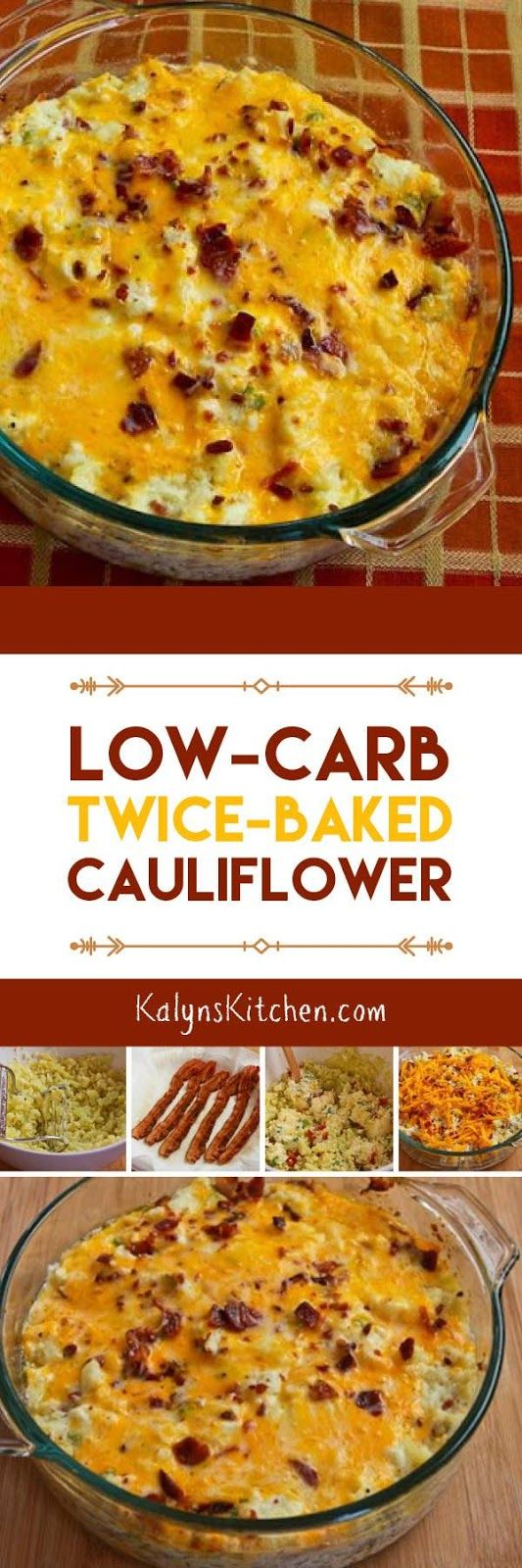 Low-Carb Twice-Baked Cauliflower For vegetarians good with quorn bacon bits