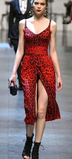 Dolce Gabbana Red Leopard Print Dress In 2019 Leopard