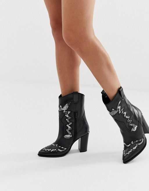 1ae2759a0a7 Bronx black leather heeled western boots in 2019 | ASOS | Black ...