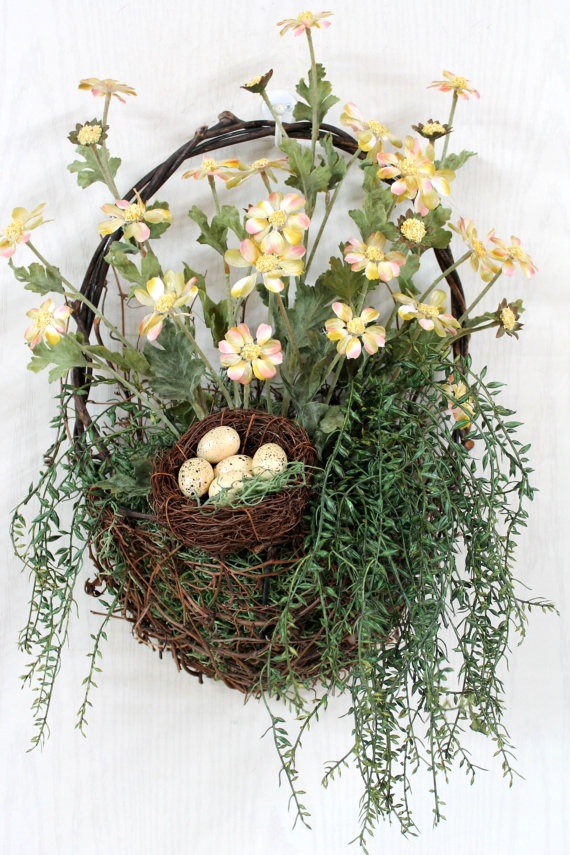 Petite Country Daisies Front Door Basket by FloralsFromHome, $58.00