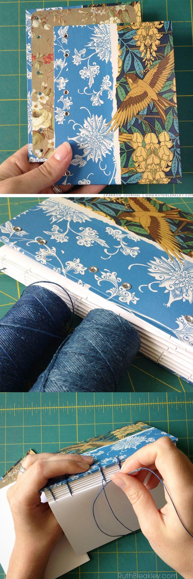 Fotografías del proceso de encuadernación por Ruth Bleakley - Art Nouveau Sparrow Journal process pics by bookbinder Ruth Bleakley Más