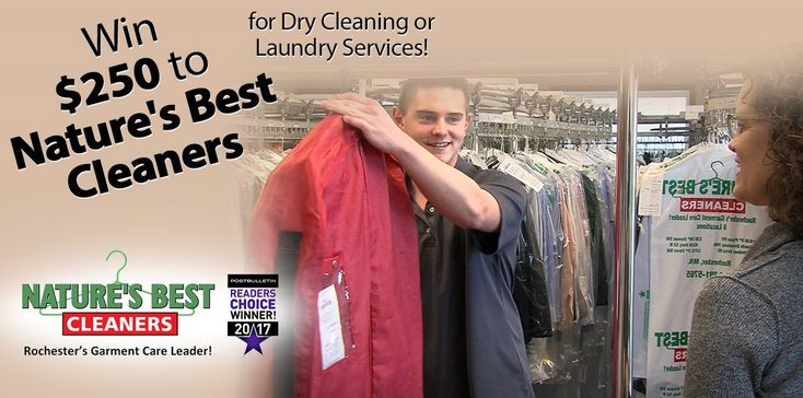 Nature's Best Cleaners - Enter to win $250 in Dry Cleaning & Laundry Services.  Share on Social Media for extra chances to win.