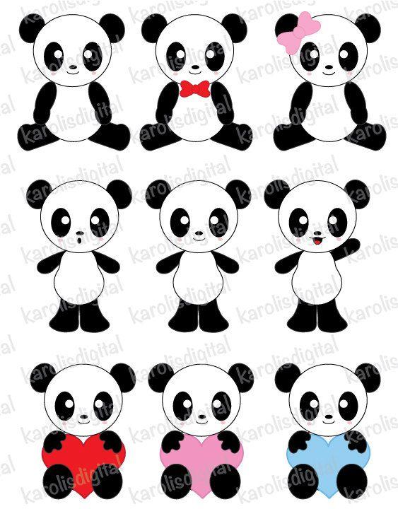 Kawaii Pandas clip art set on Etsy, $5.00