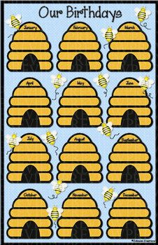 Bee Birthday Chart - could make A4 birthday list for residents