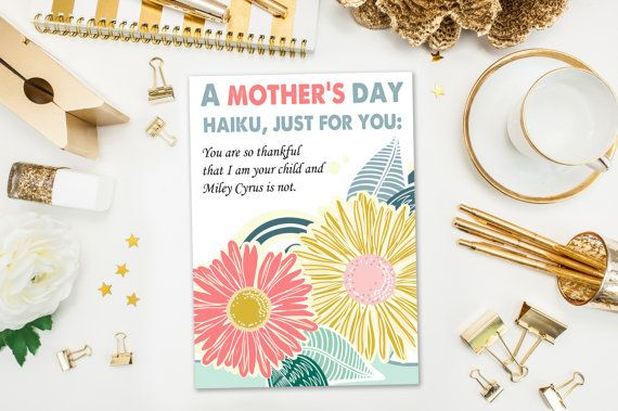 Mother's Day Cards / Funny Mother's Day Card / Haiku / Naughty Card, Miley Cyrus / Mothers Day / Printed Card