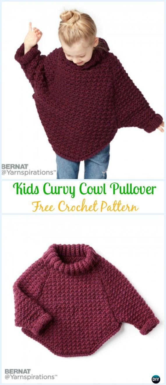 Crochet Bernat Kids Curvy Cowl Pullover Free Pattern - Crochet Kids Sweater Tops Free Patterns