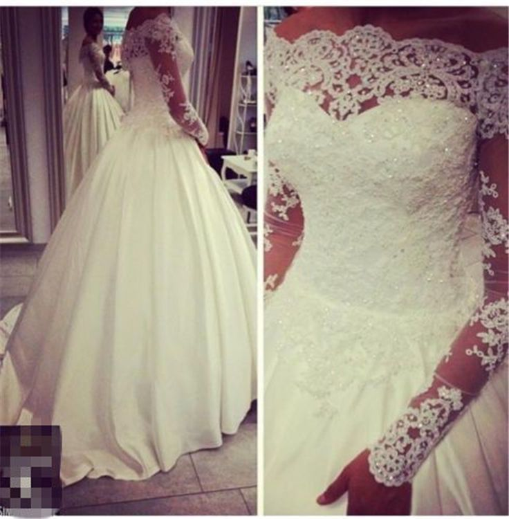 Find More Wedding Dresses Information about Fashion romantic vestidos de noiva sheer bateau neckline lace long sleeves ball gowns wedding dresses 2015 casamento,High Quality dress veil,China gown evening dress Suppliers, Cheap gown kids from   Flowery Wedding Dress on Aliexpress.com