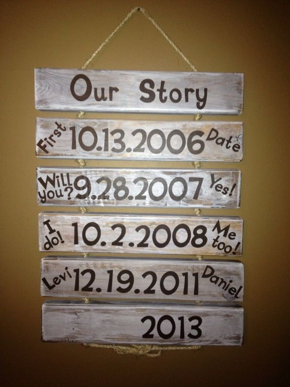 "Our Story... 18"" 2x4 stained and then painted over with white craft paint... Used 2"" vinyl for #'s and 1 1/4"" vinyl for letters... Drilled two holes through the wood and ran rope bought at lowe's through each block tying knots to separate boards"