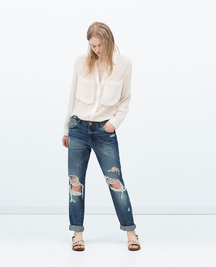 DISTRESSED JEANS-Boyfriend-Jeans-WOMAN | ZARA United States