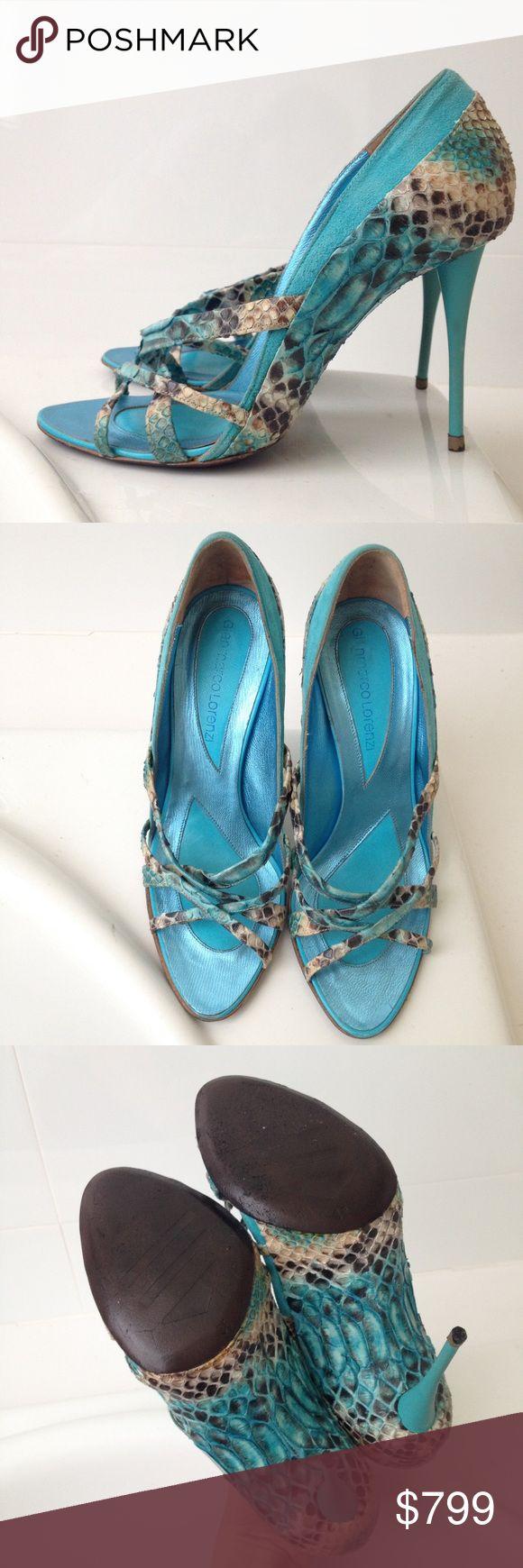 ⚜Gianmarco Lorenzi Python Turquoise Heels Brand new. Retail $1299 Size 36 Includes Original Box. Gianmarco Lorenzi Shoes Heels