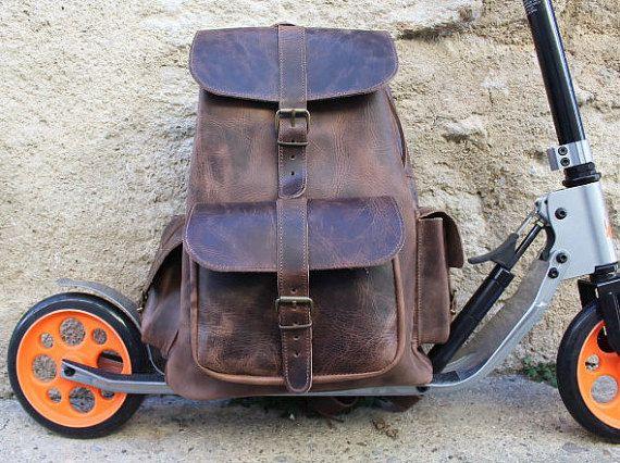 Leather Weekender Mens  bag Leather backpack by EATHINI on Etsy