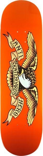 "Anti Hero Skateboards Classic Eagle Orange Skateboard Deck - 9"" x 33"""
