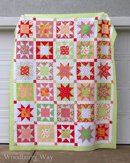 Sawtooth Star Quilt.  the stars are 12″ square, the sashing is 2″ finished, and the border is 3.5″.