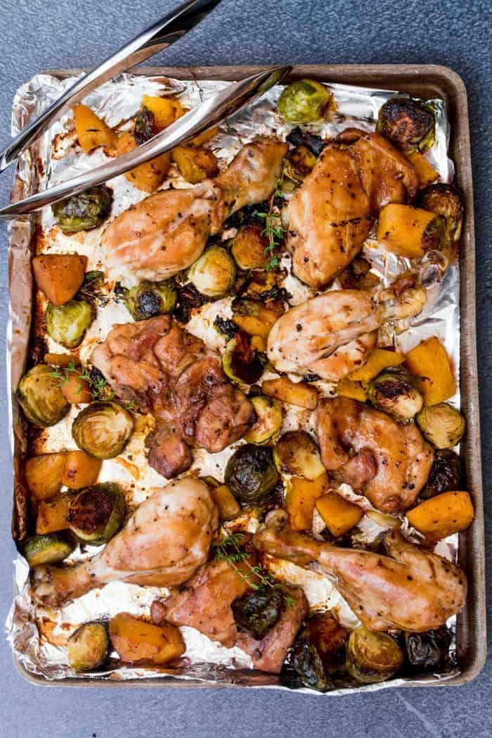 Skinnytaste S Dijon Maple Chicken With Brussels Sprouts And Butternut Is A Delicious Savory Sweet Sheet Pan Maple Chicken Brussel Sprouts Maple Dijon Chicken