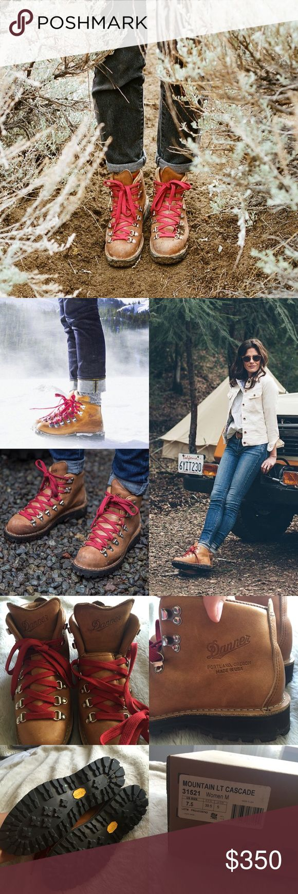 Danner Boots Basically new!! Worn twice max! Amazing, beautiful boots! Made in Oregon. I have the original box. They're a size 7.5 but run slightly big (8-8.5). ORIGINALLY $360 plus tax and shipping. Photo cred: IG @dannerboots Danner Shoes Combat & Moto Boots