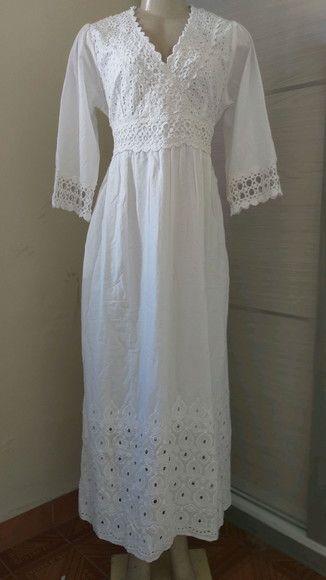 3e0175644233 vestido longo tec algodão branco lese renda guipir tam exg no Elo7 |  Belíssima Moda Criativa