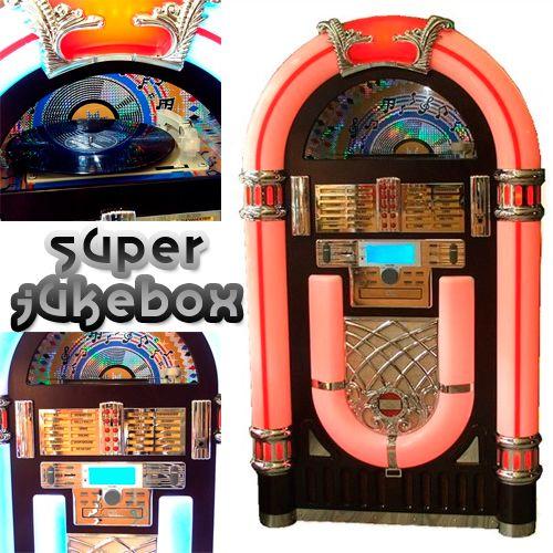 Jukebox, la preciosa máquina de discos que hemos visto y escuchado en tantas y tantas películas. http://www.revolutum.com/regalos-originales/radios-y-reproductores/reproductores-cd-mp3