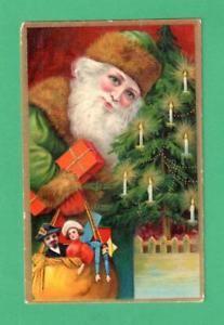 a tarjeta de publicidad de navidad vintage rara frances dept tienda juguetes de arbol de santa claus