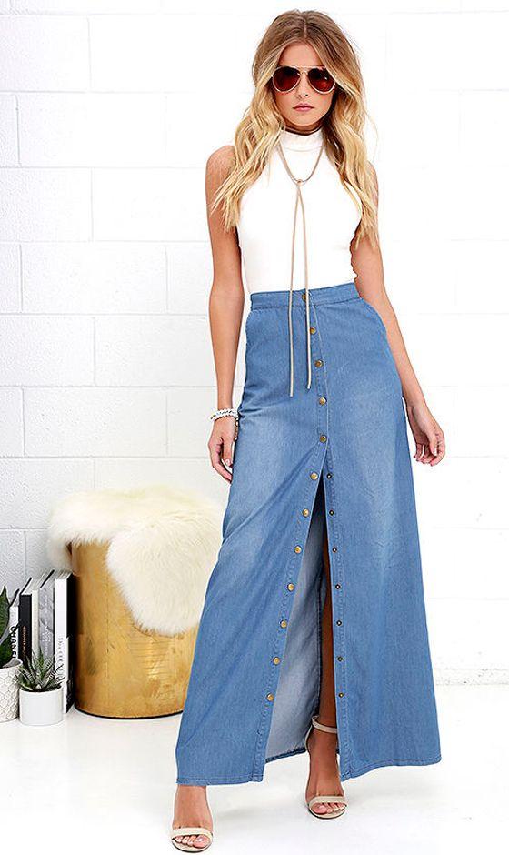 ¿Cómo usar una falda de jean en verano casual chic? - Divina EjecutivaDivina Ejecutiva