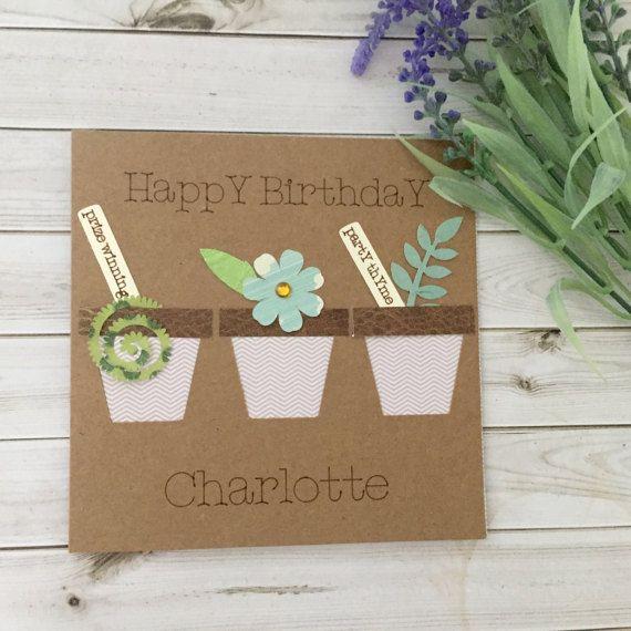 Flower card gardeners birthday card garden by Connieskitchentable
