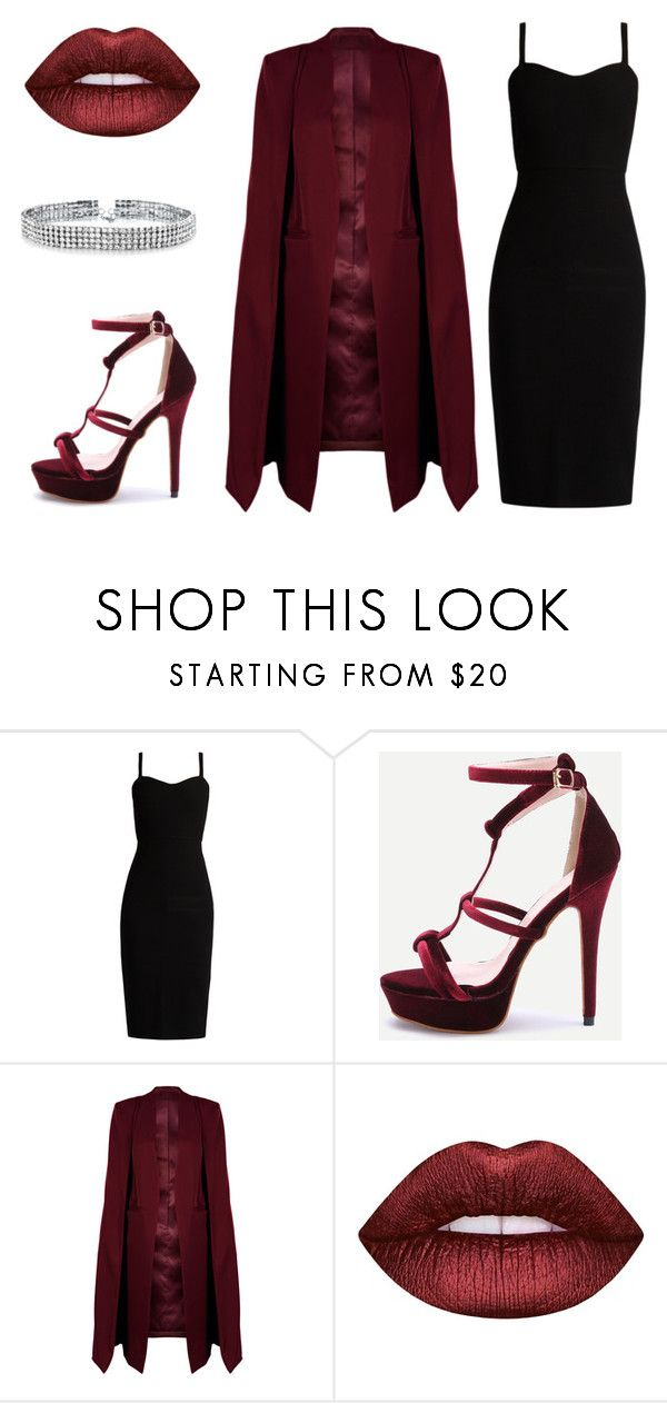 """Dark red lips"" by tovenilsen on Polyvore featuring MaxMara, WithChic, Lime Crime and Bling Jewelry"