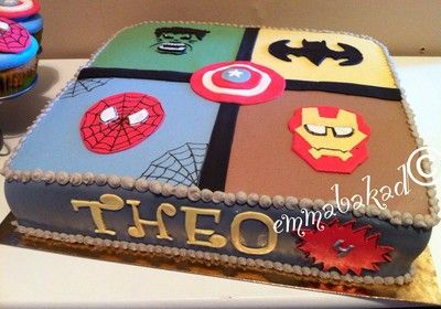 Super hero cake. The Hulk, Batman, Spider man, Iron man, Captain America.