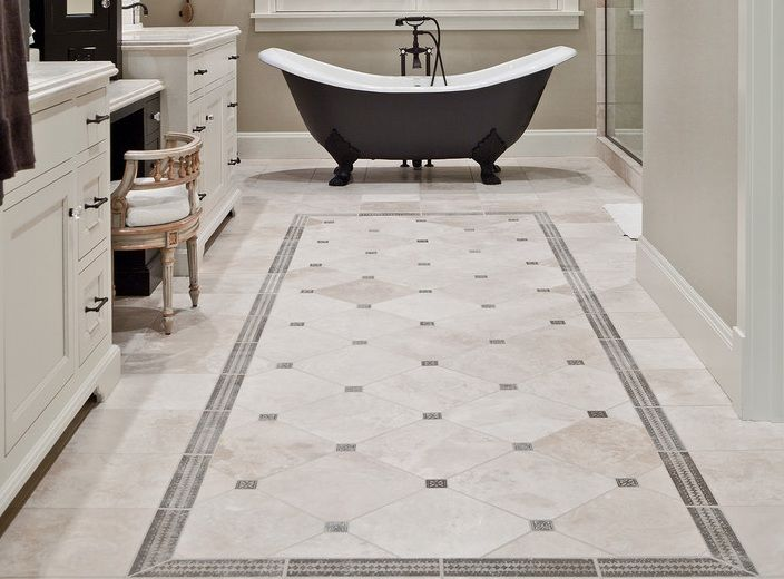 Vintage Bathroom Decor Ideas With Simple Vintage Bathroom Floor Tile Pattern