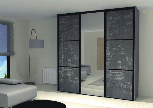 Modèle de dressing avec façades pleines et miroir #dressign #rangement