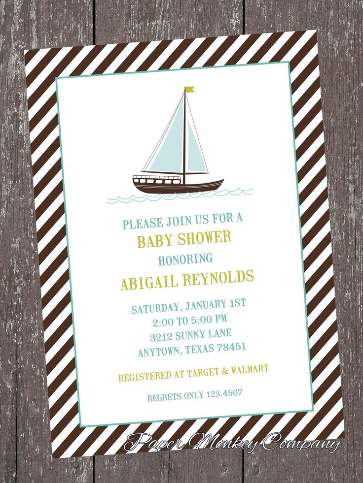 Nautical Sailboat Baby Shower Invitations by PMCInvitations on Etsy https://www.etsy.com/listing/113796450/nautical-sailboat-baby-shower