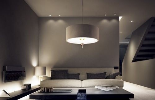 warm rich taupe and fabulous lighting in this living room - Linxspiration