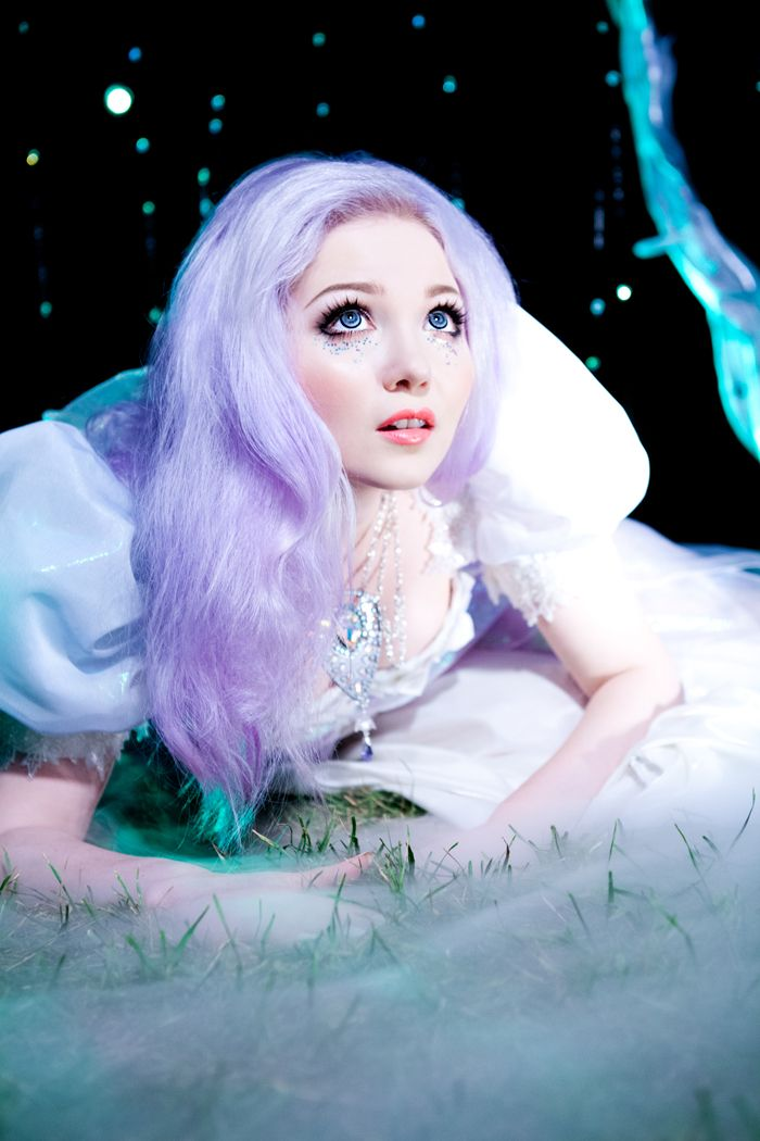 Doe Deere's lavender hair in the 'Ultimate Fantasy' photoshoot, inspired by 80s fantasy movies such as Labyrinth, Legend, and The Dark Crystal.