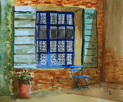 """© Gaudir13 """"Mi-ombre, mi-soleil?"""" Aquarelle 27 x 19 cm  Collection particulière"""