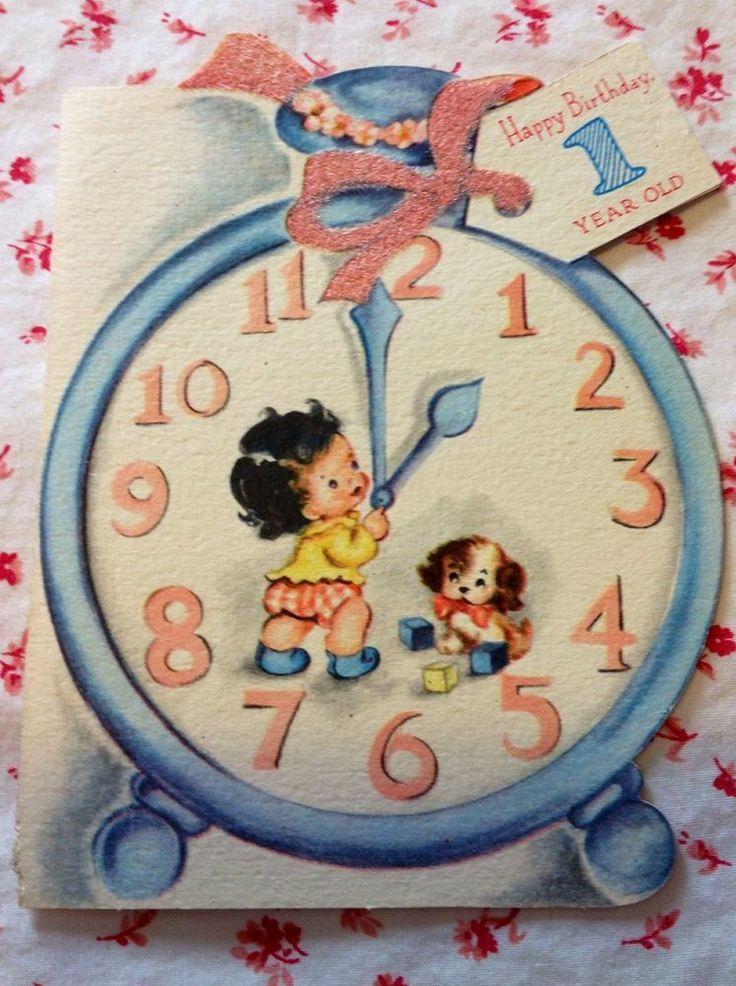 ~*~ Vintage 1949 Birthday Card w/ Cute Tot, Puppy Dog, & Clock ~*~