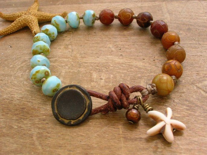 Knotted bracelet Seashore Boho jewelry leather by 3DivasStudio
