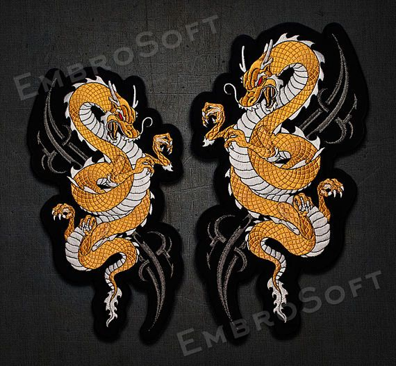 Large Patch Golden Dragon - 9 x 15, 7.8 x 13, 5.9 x 9.9 inches - sew on/iron on