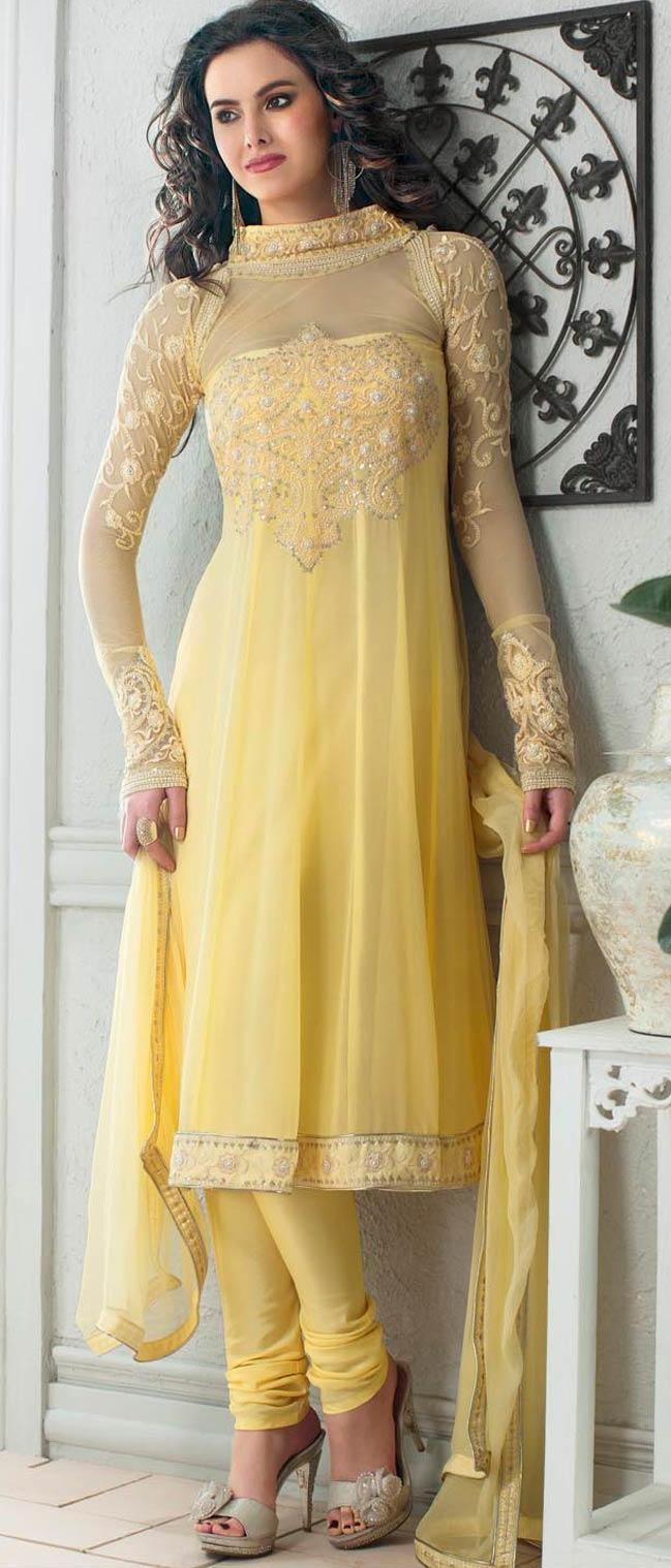 #Yellow Net #Churidar Suit