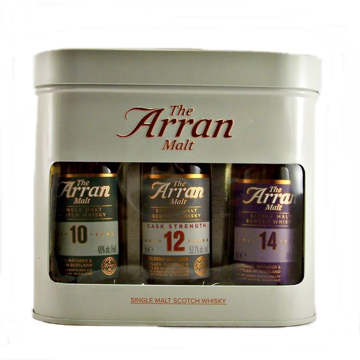 Arran Miniature Whisky Gift Set containing 3 *5cl whiskies, one of each 10, 12 and 14 year old in a presentation tin buy online at whiskys.co.uk