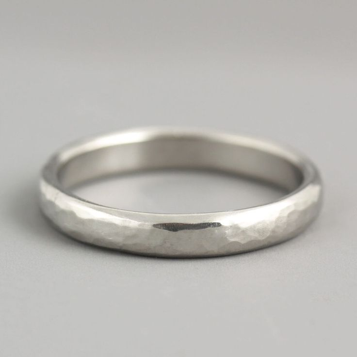 Woman's Platinum Wedding Ring - Thin Wedding Band - Hammered Wedding Band - Natural Organic Texture - Made to Order in Your Size by SarahHoodJewelry on Etsy https://www.etsy.com/listing/248010116/womans-platinum-wedding-ring-thin