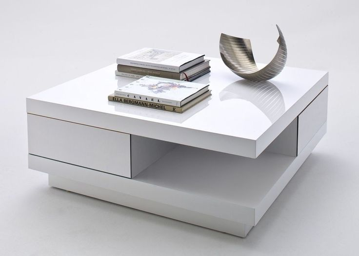 Moderner Und Eleganter Couchtisch In Der Ausfhrung Lack Weiss Hochglanz Im Unterteil Sind 2 Schubladen Integriert Darber Hinaus Verfgt Tisch Auch