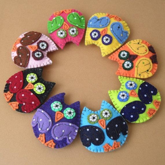 Owl Felt Brooch Pin Hairpin Hair Clip Multicolor by rokdarbi4u, $12.00