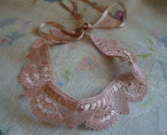 needle lace peter pan collar, necklace - firuzan goker