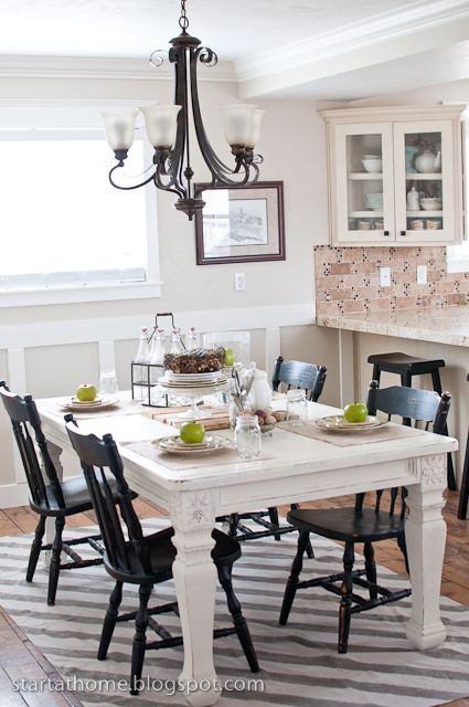 very pretty dining room redo: Dining Rooms, Dining Area, White Tables, Black And White, Kitchens Tables, Black Kitchens, Black Chairs, Chalk Paintings, Dining Tables