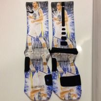 """""""Stephen Curry"""" Custom Nike Elite Socks by Sock Insanity. #storenvy #sockinsanity **Sock sizing is based on shoe size.  Small is for youth 3-5, and ladies 4-6.  Medium is for youth 5-7, mens 6-8, and ladies 6-10.  Large is for ladies 10-13, and mens 8-12.  X-Large is for mens 12-15."""