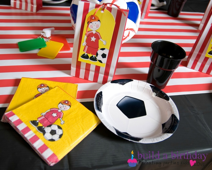Soccer plates, with Paper eskimo candy red bags and tags